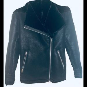 Ladies faux suede moto jacket